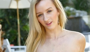 Pulchritudinous golden-haired unspecific teases in skivvies and gives POV head