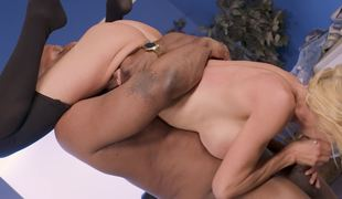 Big-breasted Alexis Fawx rides giant dark jock with pleasure