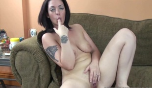 Dark brown Hair coed Melina Mason finger bangs her tight snatch