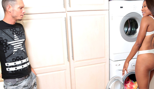Tyler Iron & Indigo Vanity in Cleaning ass - RoundAndBrown