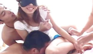 Asian honey groped round with rub-down the addition of handled by rub-down the fellas