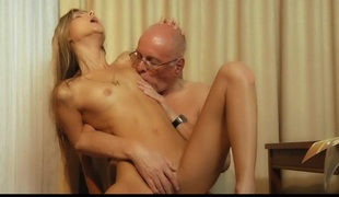 Crazy blond babe fucks her rich older paramour money