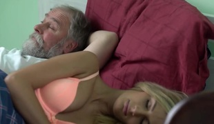 OLD4K. Blonde and old spouse interrupted tea to make love on sofa