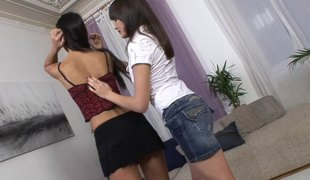 Breasty lesbo close to long whisker unpinning the brush miniskirt then whimpering while being fucked using strapon