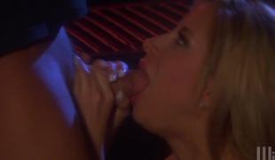 Staggering porn angel August gives hard Hawkshaw a good blow job