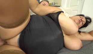 BBW milf gives the younger man access to her sexually excited bawdy cleft