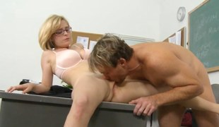 Nerdy golden-haired schoolgirl eaten abroad and banged by his teacher