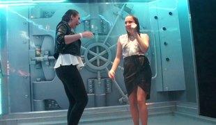 Hot lesbians showcase their killer dance moves in a slatternly arena