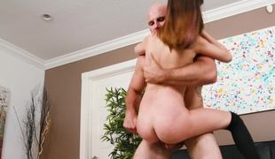 Flexible fuck toy in stockings and heels loves large cock