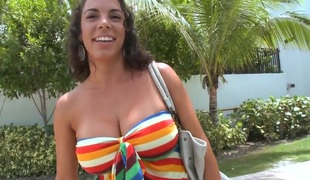 Amateur Latina Bianca and guys from the Team fuck Bus