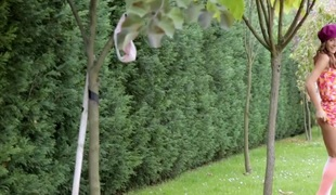 Nice-looking teen Guerlain spreading outside