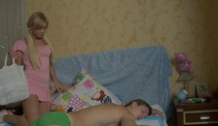 anal shafting the legal age teenager after this babe wakes him up