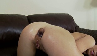 Tiffany Chick takes anal toys on touching their way ass and gets their way clit vibed