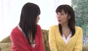 Reprobate Japanese lesbian fingering her girlfriend's perishable cookie