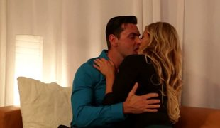A top enormous blond milf is fooling around with her eager man