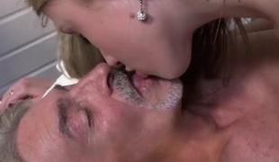 Perverted skinny girl gives older man full erotic massage