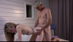 Skinny old farts gets to shag two cute nubiles