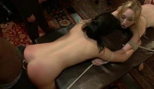 Celebrating with 2 girl bondage fucking