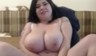BBW Whilom before GF with large Milk cans masturbating wet pussy